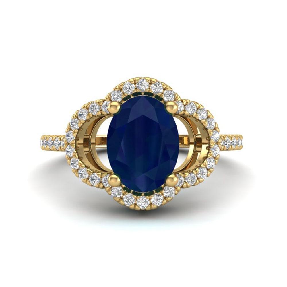 2 ctw Sapphire & Micro Pave VS/SI Diamond Certified