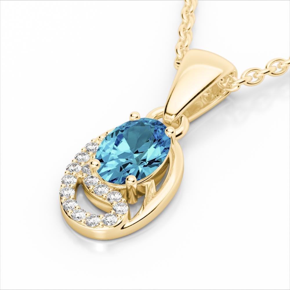1.25 ctw Sky Blue Topaz & Micro Pave Diamond Necklace