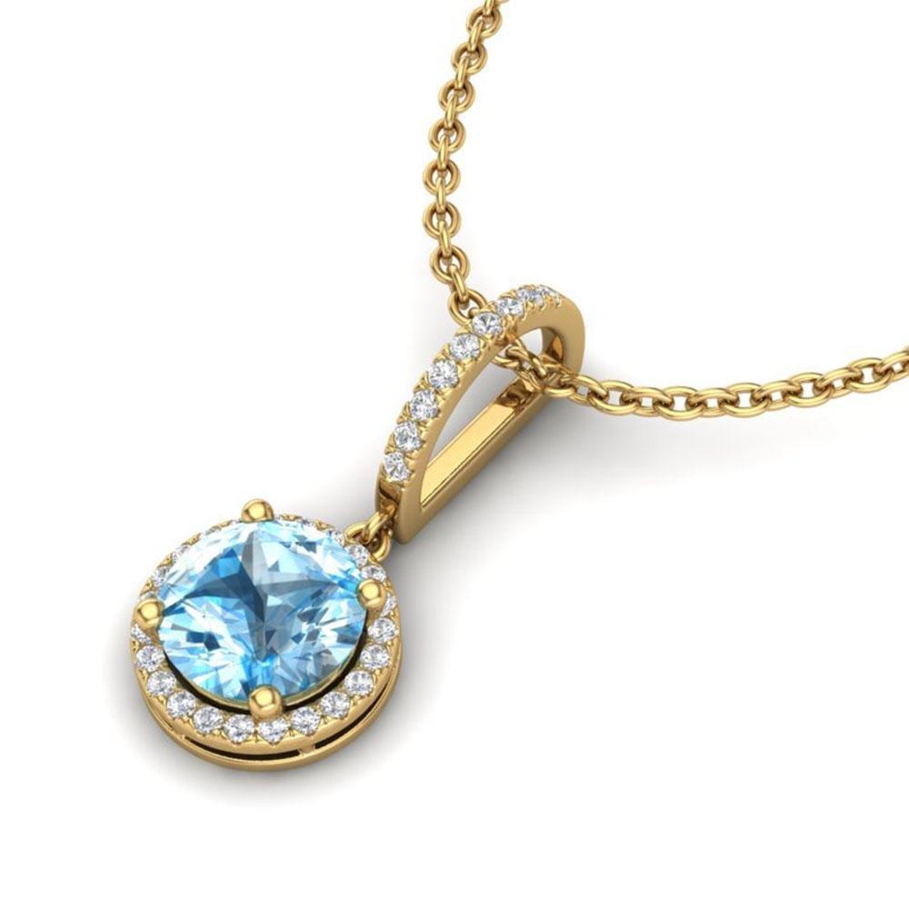 2.75 ctw Sky Blue Topaz & Micro Pave Diamond Necklace
