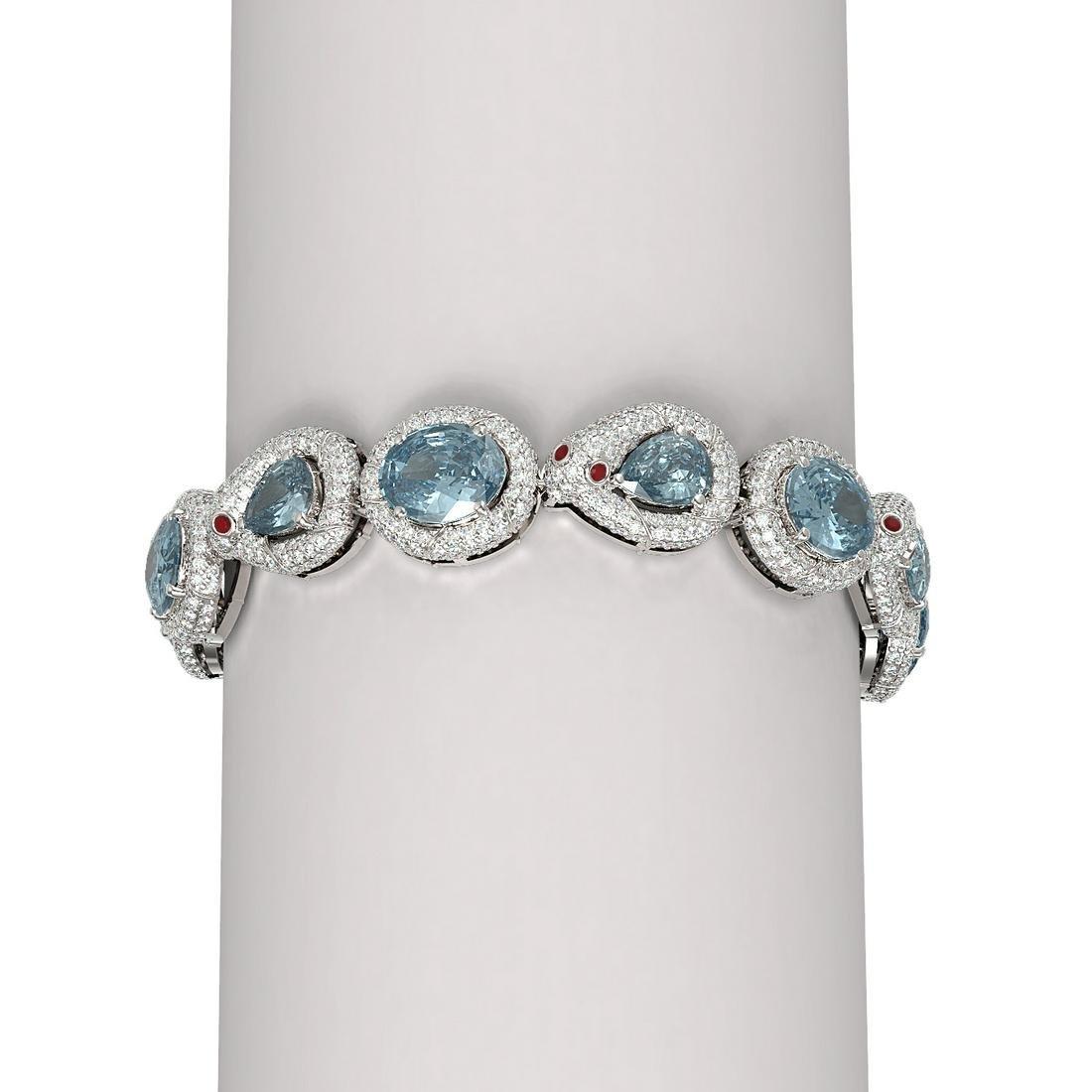 30.95 ctw Blue Topaz & Diamond Bracelet 18K White Gold