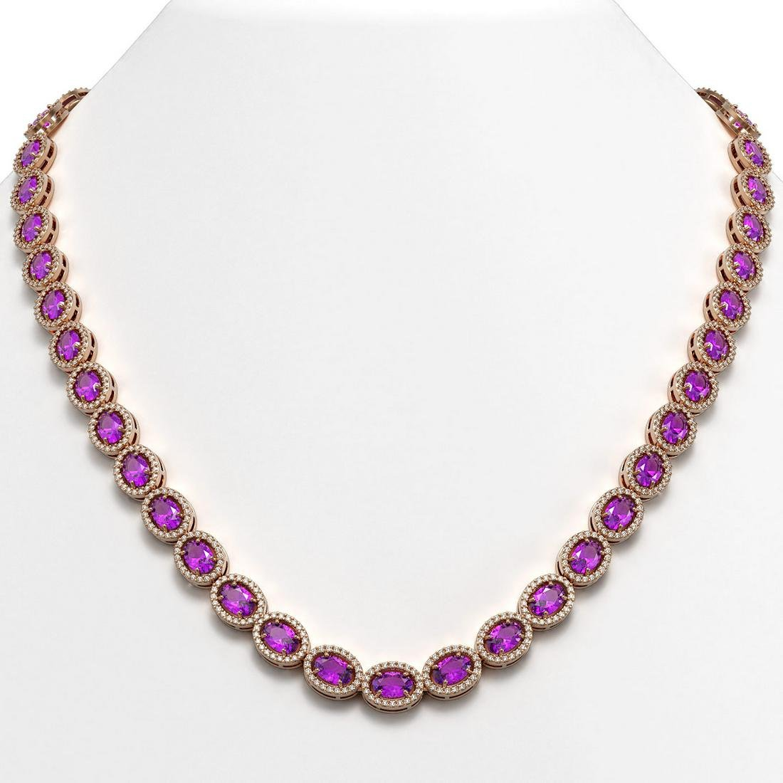 29.38 ctw Amethyst & Diamond Micro Pave Halo Necklace