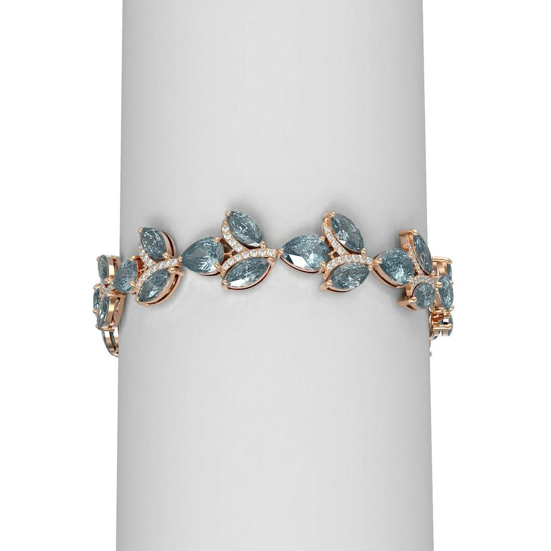 27.72 ctw Blue Topaz & Diamond Bracelet 18K Rose Gold -