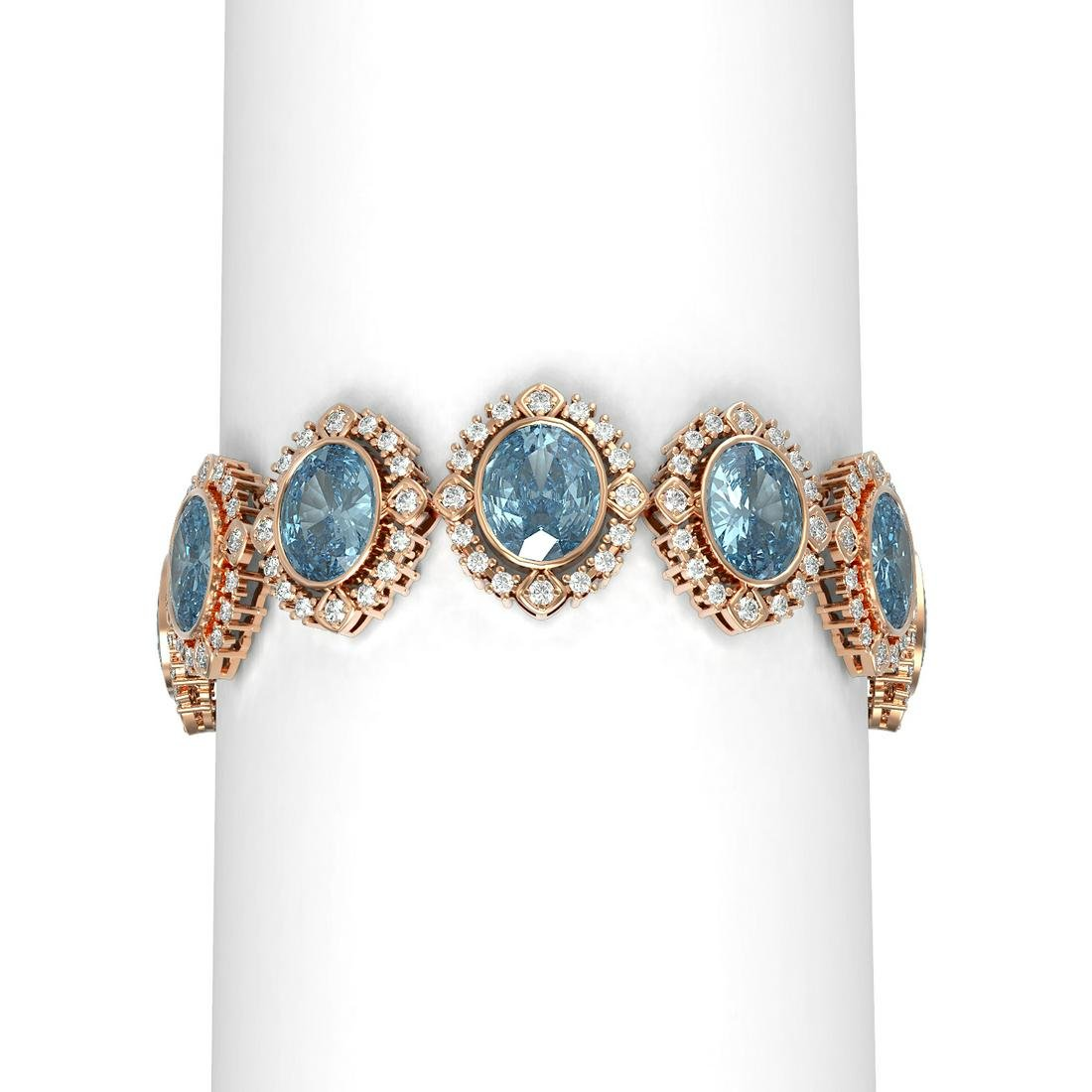 44.43 ctw Blue Topaz & Diamond Bracelet 18K Rose Gold -