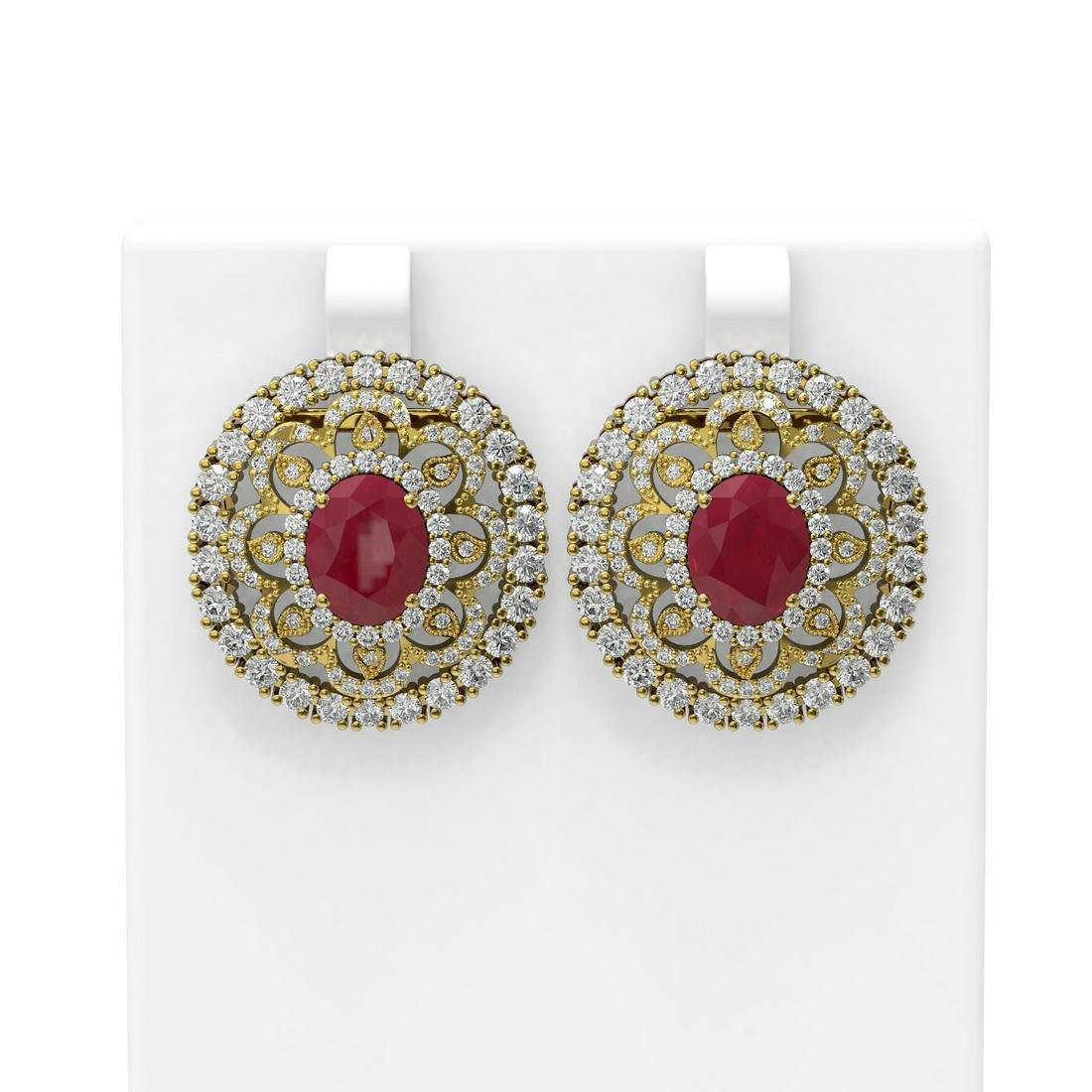 13.01 ctw Ruby & Diamond Earrings 18K Yellow Gold -
