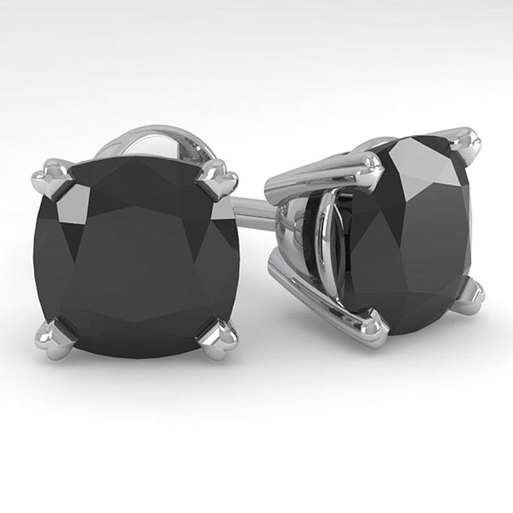 12 ctw Cushion Black Diamond Stud Designer Earrings 18k
