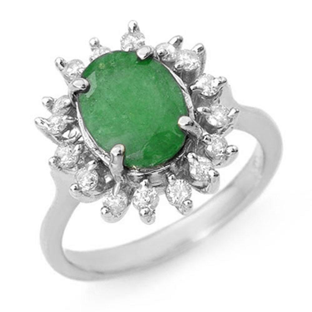 3.10 ctw Emerald & Diamond Ring 18k White Gold -
