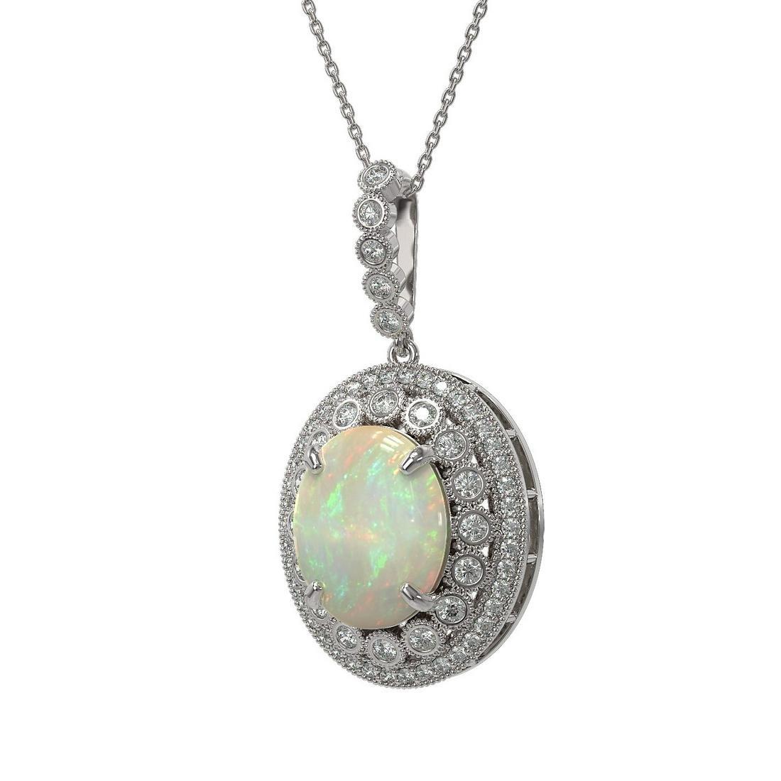 9.38 ctw Certified Opal & Diamond Victorian Necklace