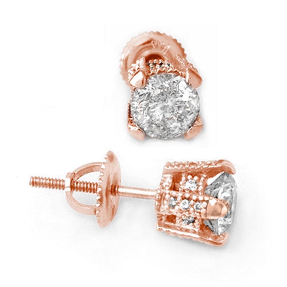 1.0 ctw Certified VS/SI Diamond Stud Earrings 14k Rose