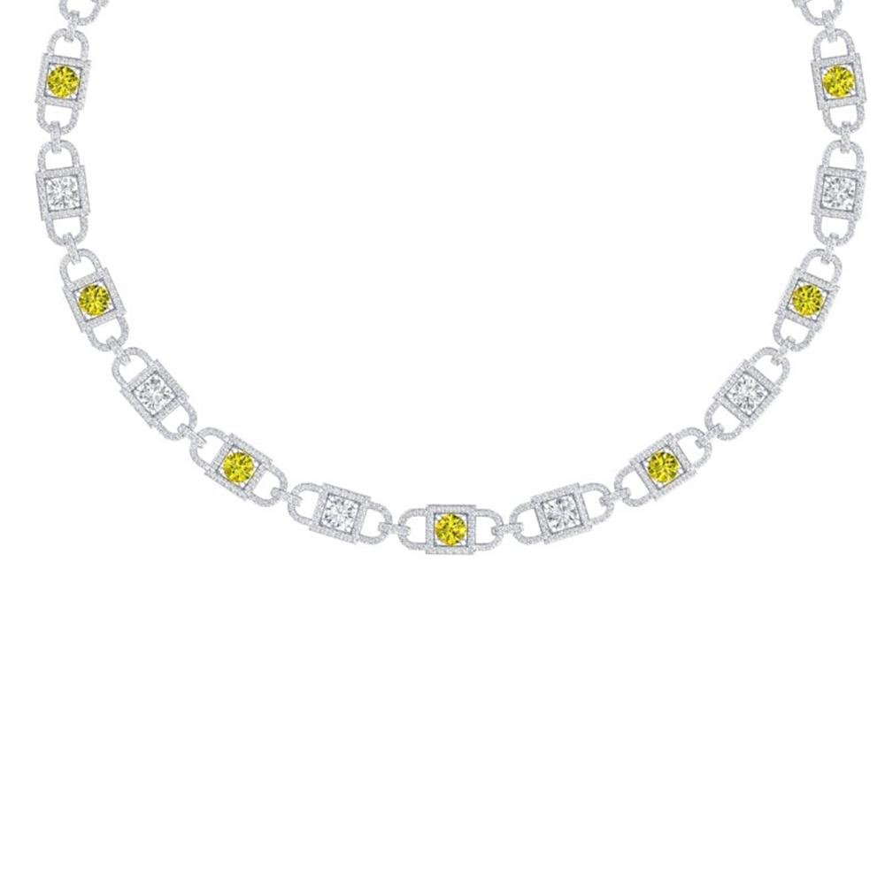 20 ctw SI/I Fancy Yellow Diamond Necklace 18K White