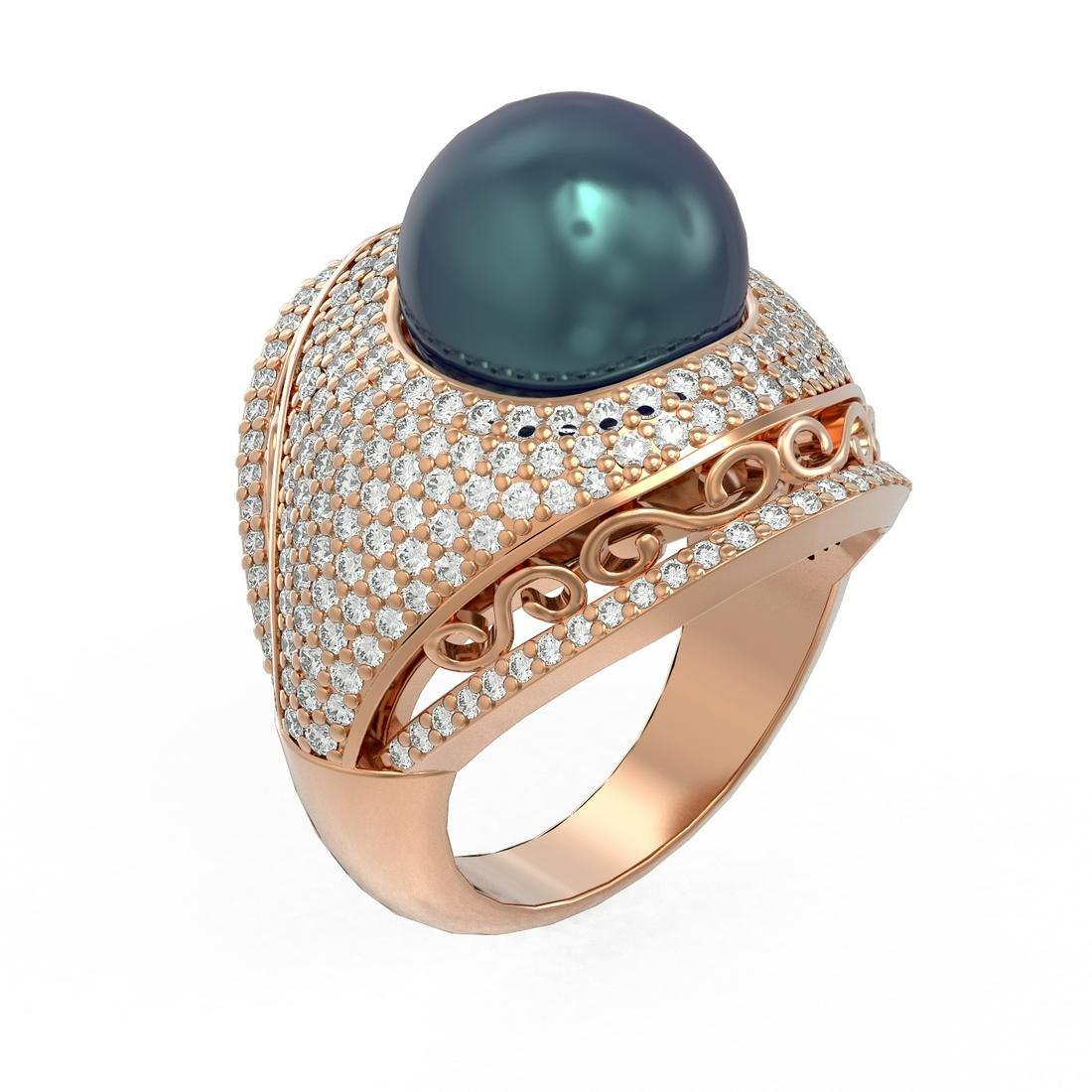 2.5 ctw Diamond & Pearl Ring 18K Rose Gold - REF-270A4N