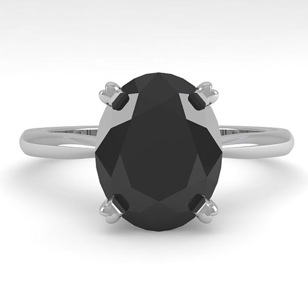 5.0 ctw Oval Black Diamond Engagment Designer Ring 14k