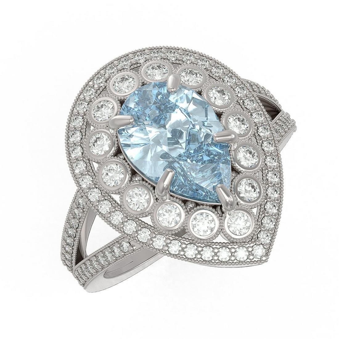 3.82 ctw Certified Aquamarine & Diamond Victorian Ring