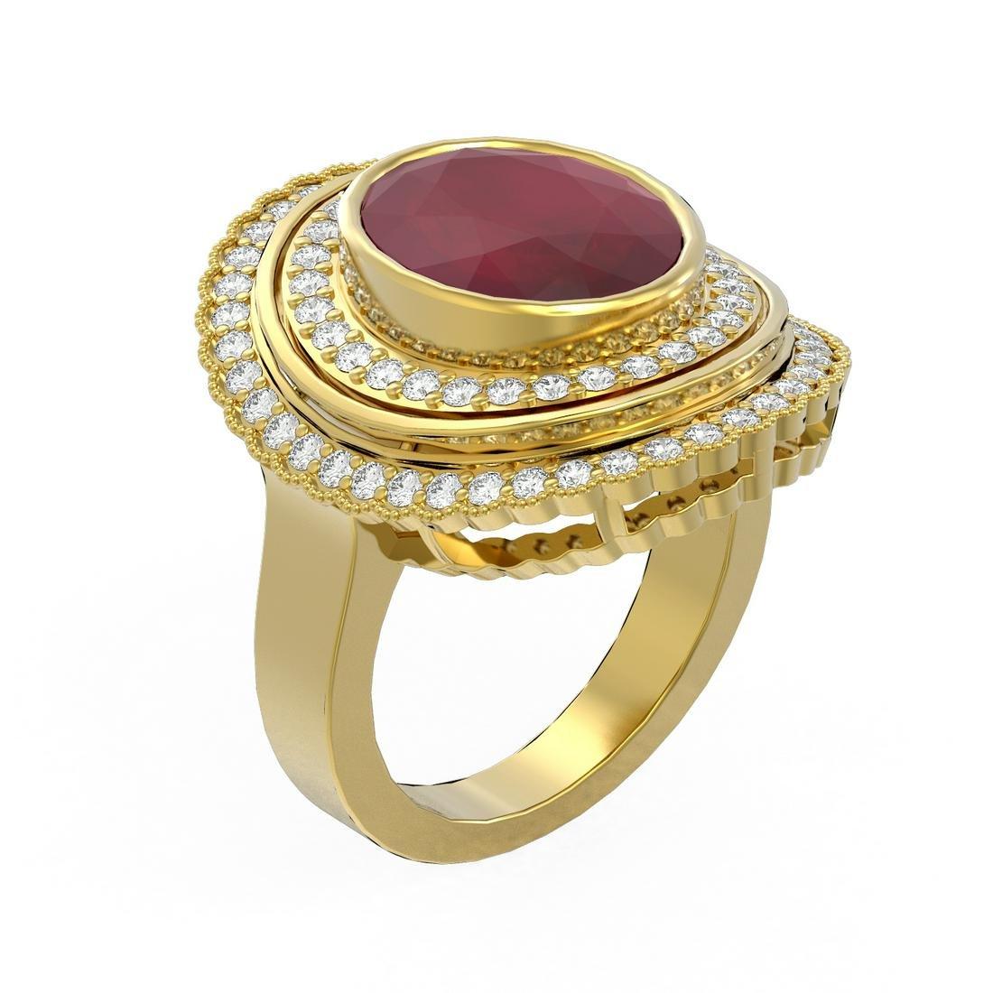 8.16 ctw Ruby & Diamond Ring 18K Yellow Gold -