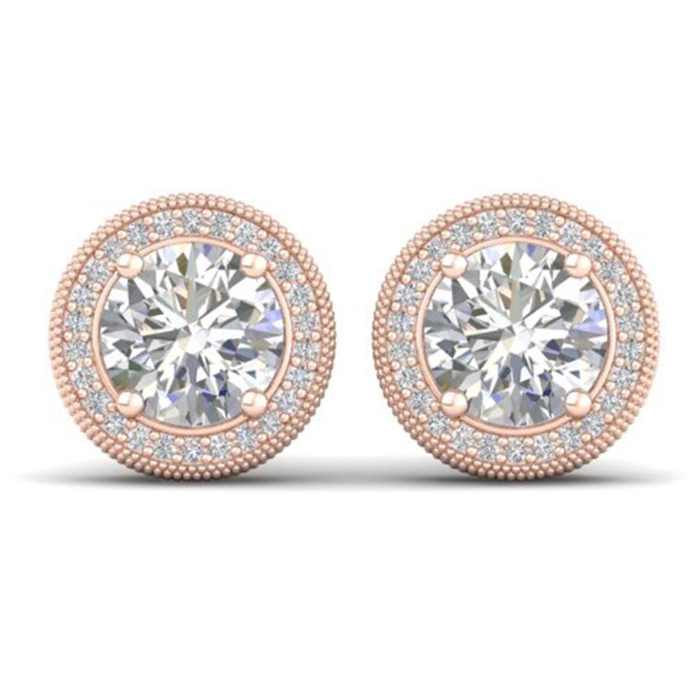4 ctw Certified VS/SI Diamond Art Deco Stud Earrings