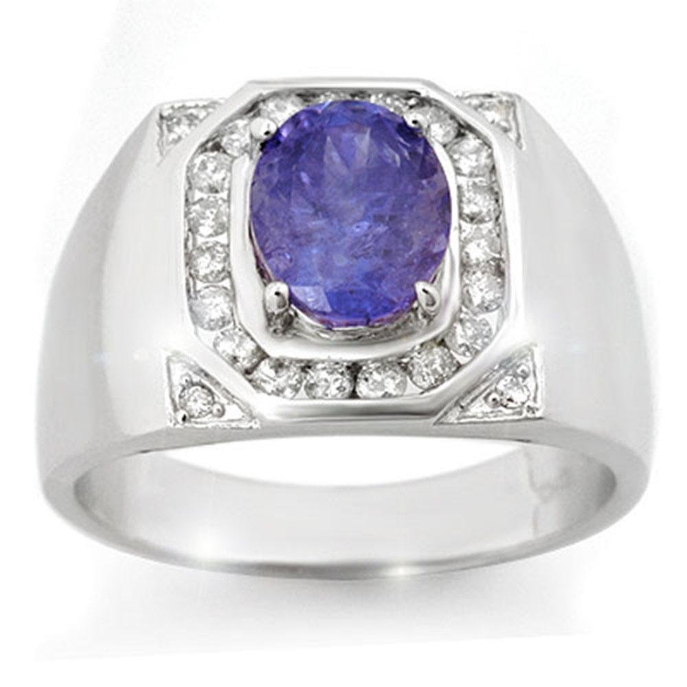 3.10 ctw Tanzanite & Diamond Men's Ring 14k White Gold