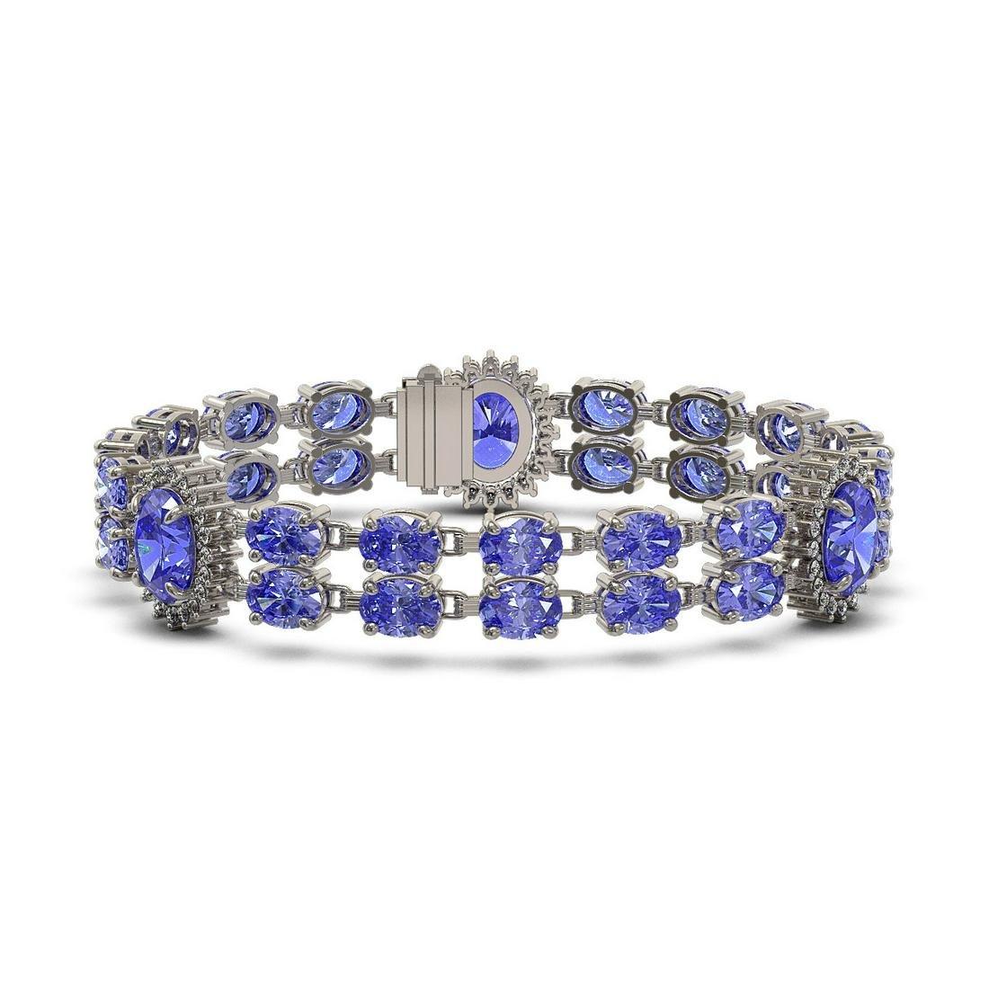 32.77 ctw Tanzanite & Diamond Bracelet 14K White Gold -
