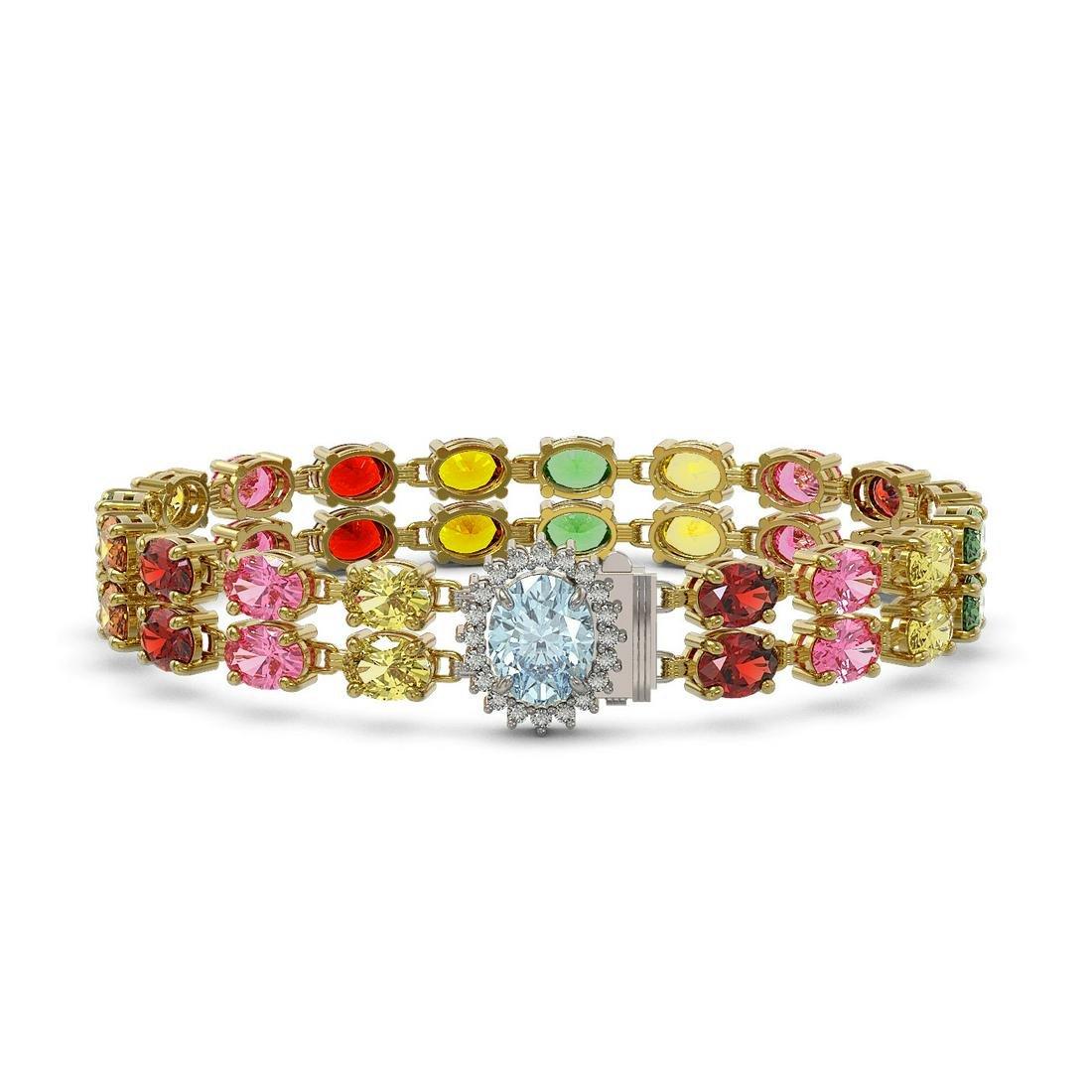 29.32 ctw Sapphire & Diamond Bracelet 14K Yellow Gold -