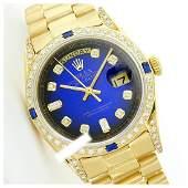 Rolex Mens 18K Yellow President QuickSet Diam Dial