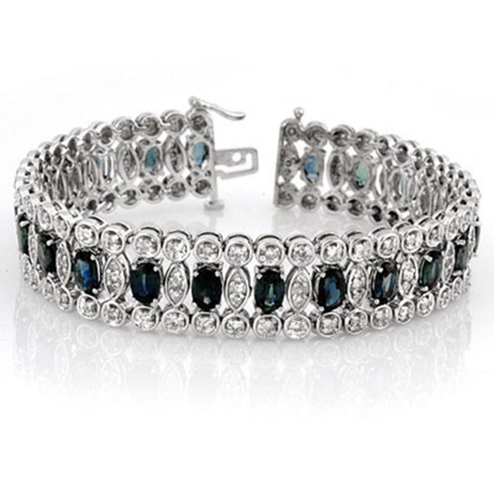 18.50 ctw Blue Sapphire & Diamond Bracelet 14k White