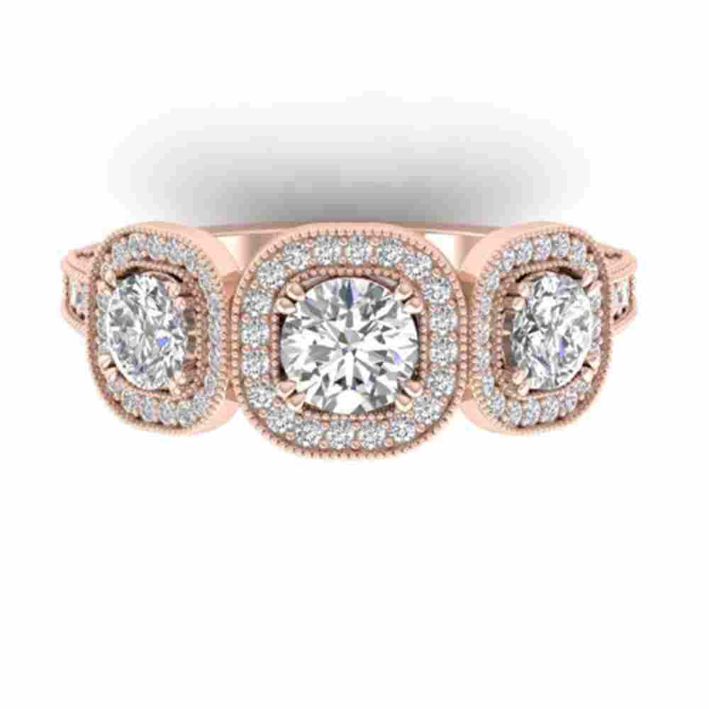 2.25 ctw Certified VS/SI Diamond 3 Stone Micro Ring 14k
