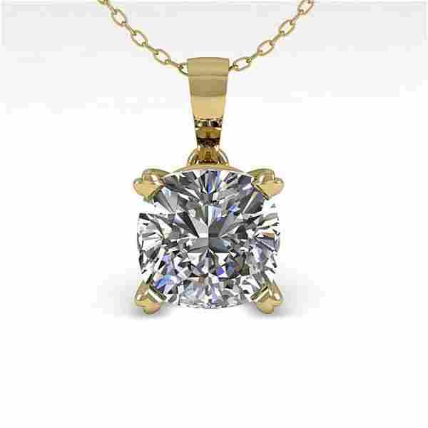 0.50 ctw VS/SI Cushion Diamond Designer Necklace 18k