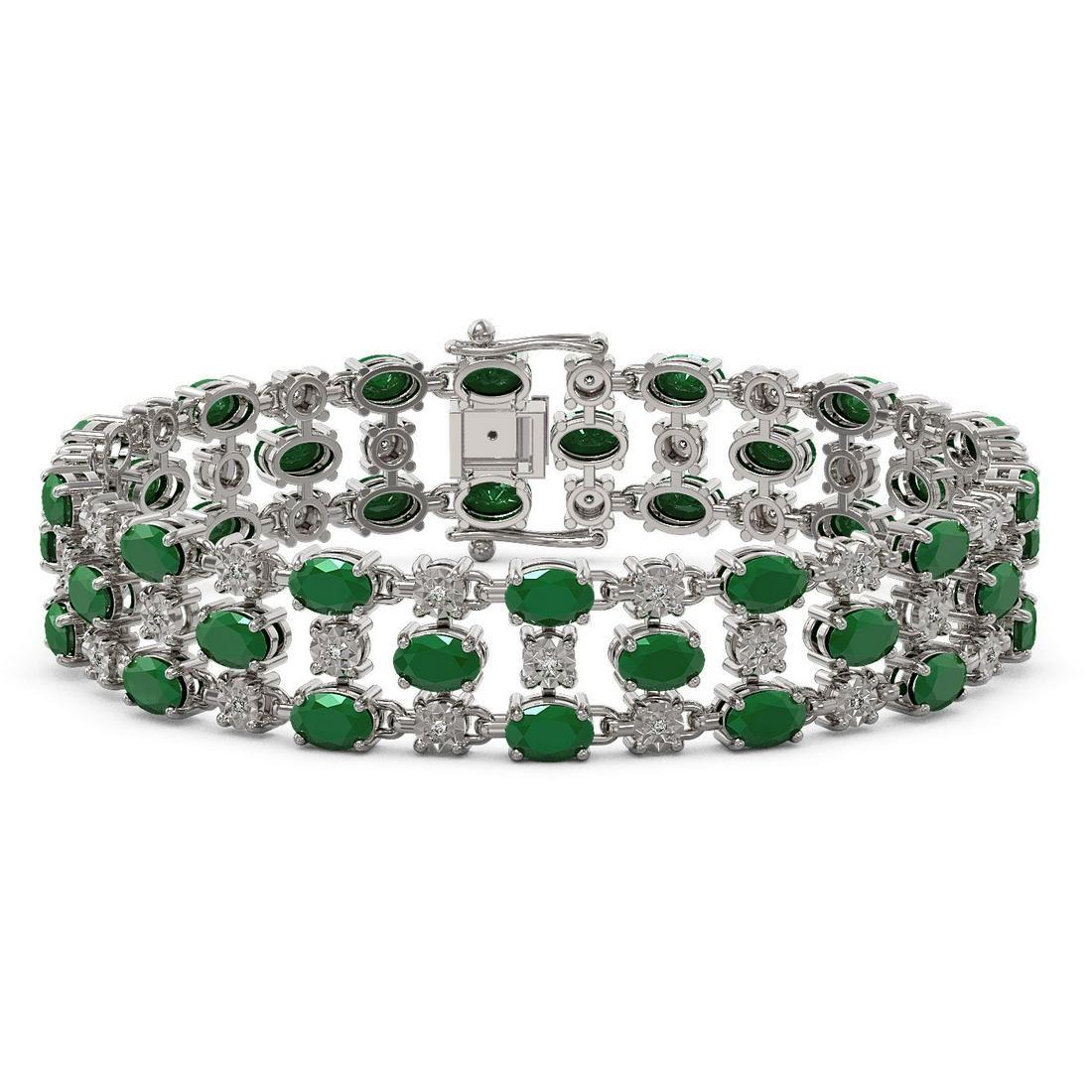 25.85 ctw Emerald & Diamond Bracelet 10K White Gold -