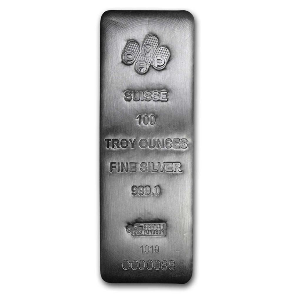 One piece 100 oz 0.999 Fine Silver Bar PAMP Suisse -