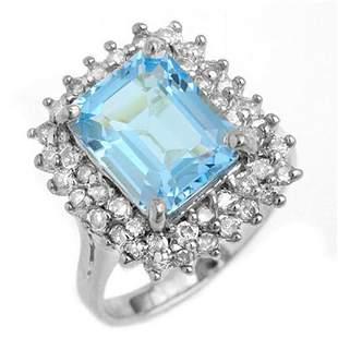 5.10 ctw Blue Topaz & Diamond Ring 18k White Gold -