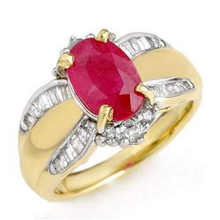3.01 ctw Ruby & Diamond Ring 14k Yellow Gold -