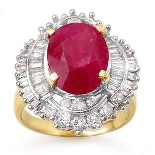 6.15 ctw Ruby & Diamond Ring 14k Yellow Gold -