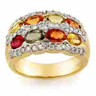 3.75 ctw Multi-Sapphire & Diamond Ring 14k Yellow Gold