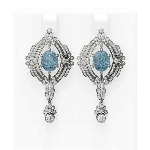 10.34 ctw Blue Topaz & Diamond Earrings 18K White Gold