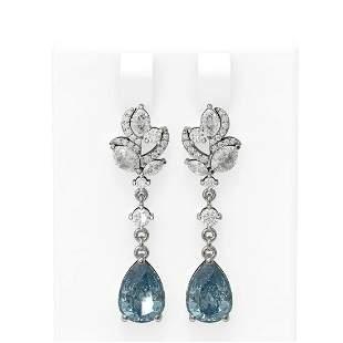 7.12 ctw Blue Topaz & Diamond Earrings 18K White Gold -