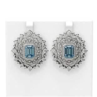 15.59 ctw Blue Topaz & Diamond Earrings 18K White Gold
