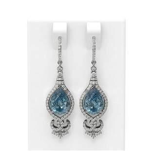 6.24 ctw Blue Topaz & Diamond Earrings 18K White Gold -