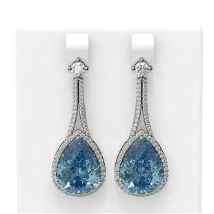 23.3 ctw Blue Topaz & Diamond Earrings 18K White Gold -