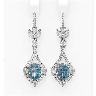 9.02 ctw Blue Topaz & Diamond Earrings 18K White Gold -