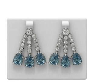 17.82 ctw Blue Topaz & Diamond Earrings 18K White Gold