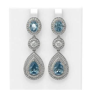 12.42 ctw Blue Topaz & Diamond Earrings 18K White Gold