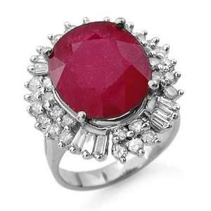 10.65 ctw Ruby & Diamond Ring 18k White Gold -