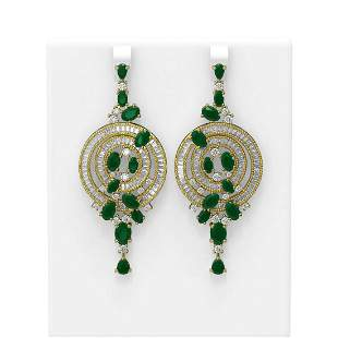 22.97 ctw Emerald & Diamond Earrings 18K Yellow Gold -