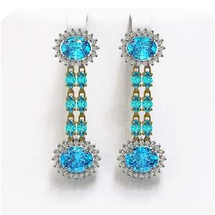 12.82 ctw Swiss Topaz & Diamond Earrings 14K Yellow