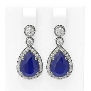 3.1 ctw Sapphire & Diamond Earrings 18K White Gold -