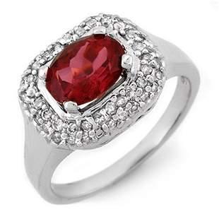 1.90 ctw Rubellite & Diamond Ring 14k White Gold -