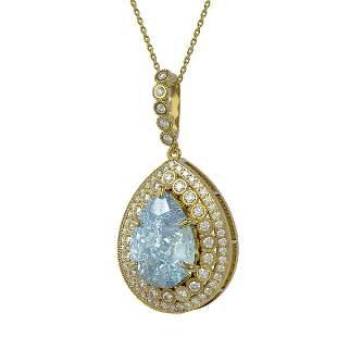 17.62 ctw Sky Topaz & Diamond Victorian Necklace 14K