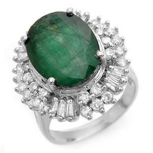 11.75 ctw Emerald & Diamond Ring 18k White Gold -