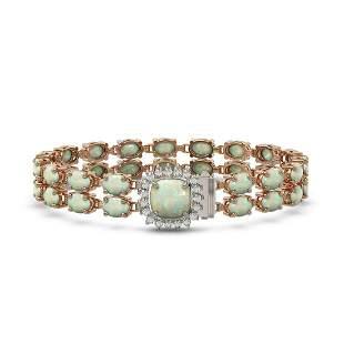 14.41 ctw Opal & Diamond Bracelet 14K Rose Gold -