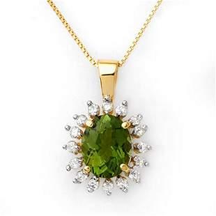 3.55 ctw Green Tourmaline & Diamond Necklace 10k Yellow