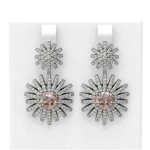 6 ctw Morganite & Diamond Earrings 18K White Gold -