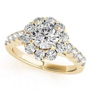 3 ctw Certified VS/SI Diamond Halo Ring 18k Yellow Gold